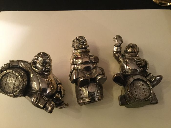 Three Miniatures depicting Friars with Wine Casks, Laminated Silver Italy, 20th c