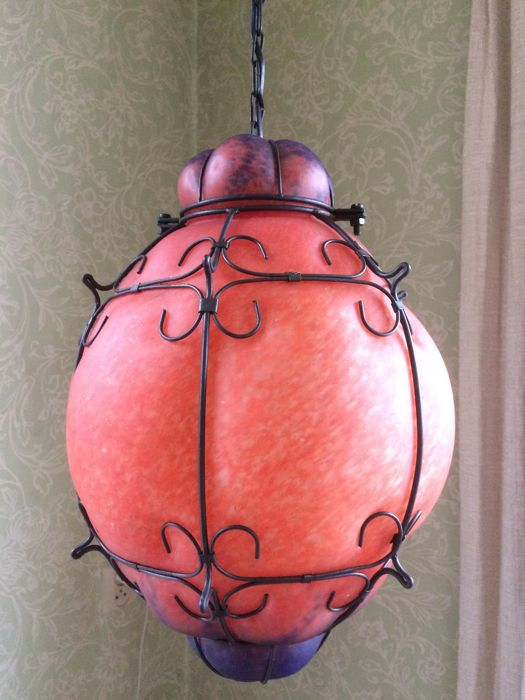 Large Venetian glass pendant light with beautiful colours