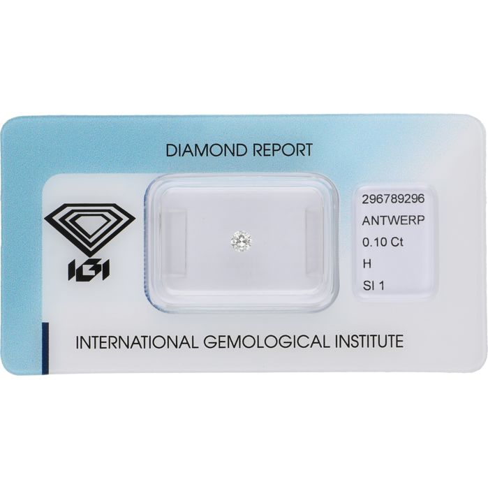 0.10 ct round brilliant cut diamond, H SI1