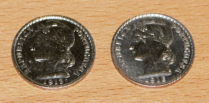 Portugal Republic - Pair - 20 Centavos - 1913 & 1916 - Silver