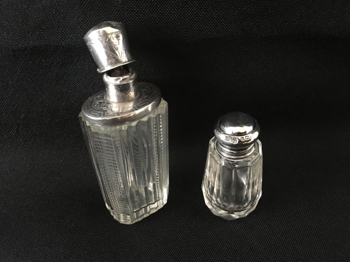 Antique Dutch silver scent bottle, first half of XX century and perfume/salt bottle, M. Bros, Birmingham, 1938