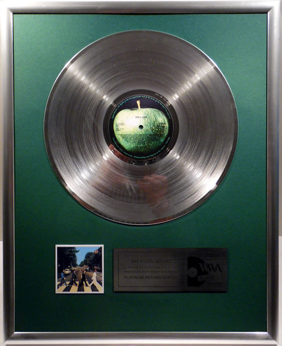"""The Beatles - Abbey Road - 12"""" Apple Record platinum plated record by WWA Awards"""