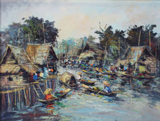 Painting - Floating Market - Asia - 2nd half 20th century