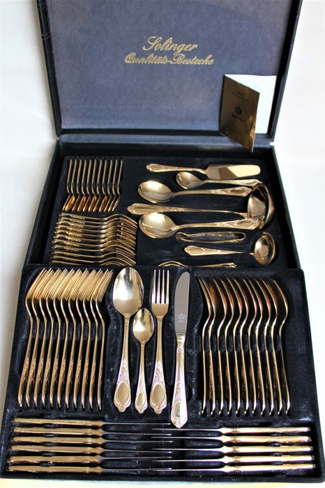 Luxurious 70-piece quality cutlery set from the SBS Company, Solingen - 23/24 karat hard gold plated in a leather case