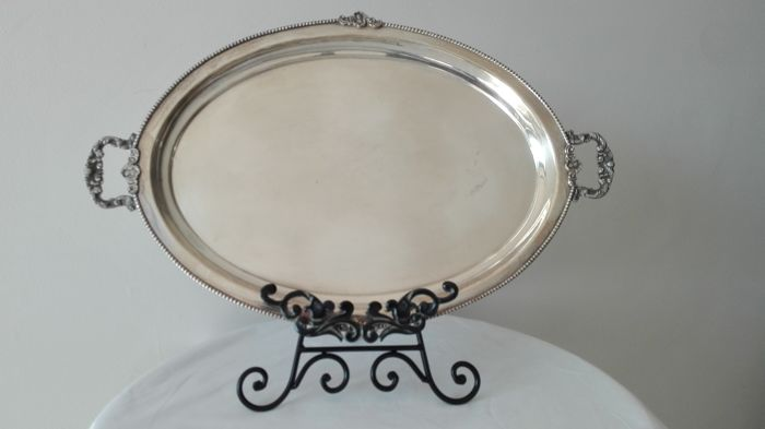 """Royal Sheffield Family"" English silver oval tray"