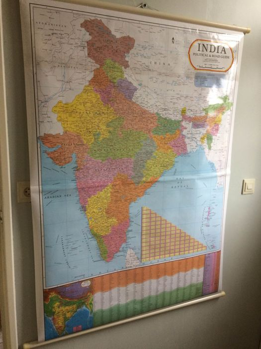 Large map on stick of India