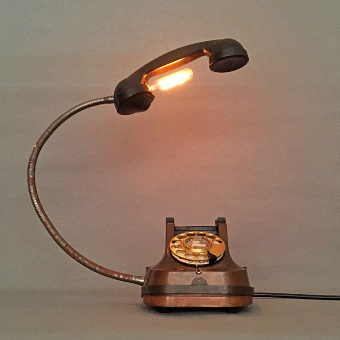 Antique 1950 Ericsson-PTT brass telephone transformed into a desk light
