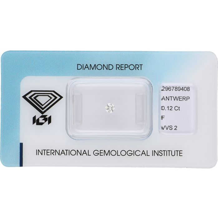 0.12 ct round brilliant cut diamond, F VVS2