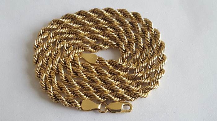 Twisted necklace for man or woman in yellow gold 18kt 750 11.8 g 50 cm