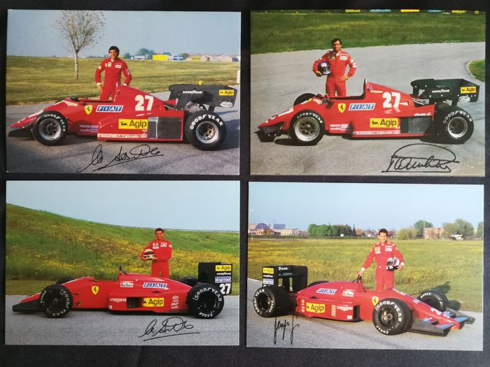 Ferrari drivers autographed historical photos