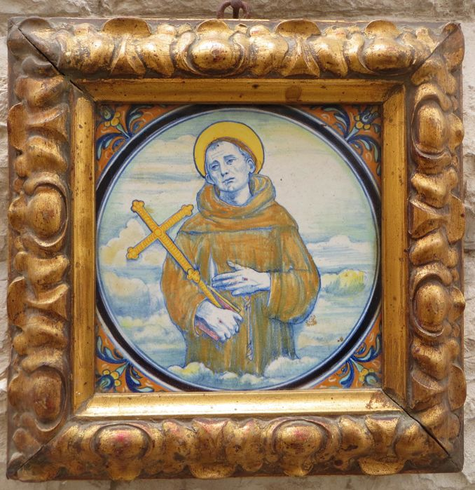 Saint Francis of Assisi, Painting on Majolica