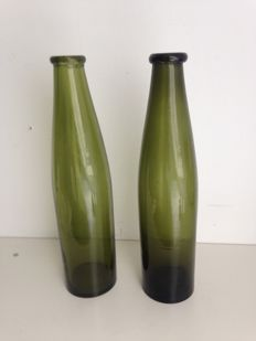 Two hand-blown purslane bottles, the Netherlands, 19th century