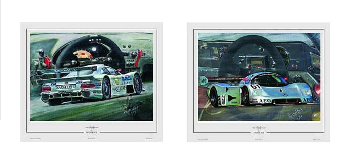 2 Lithographs from Hessel Bes - Mercedes-Benz CLK Le Mans & Sauber Mercedes-Benz C9