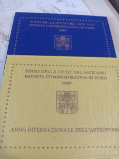 "Vatican - 2 Euro, 2007 and 2009 - ""Year of Astronomy and Birthday"""