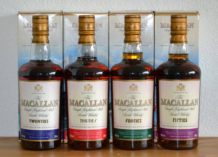 4 bottles - Macallan Travel Series 20´s 30´s 40´s and 50´s