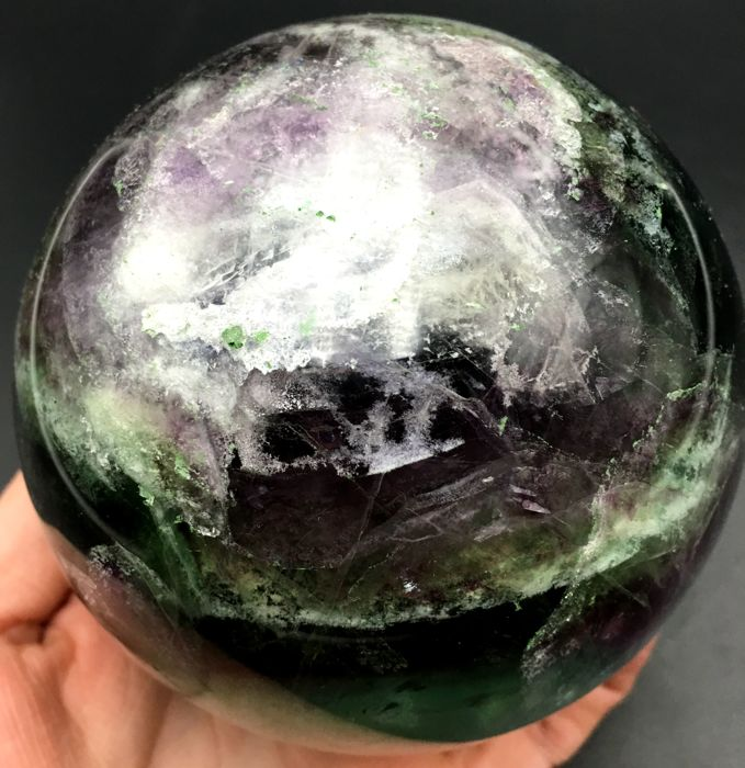Large Natural Fluorite Quartz ball Healing - 106mm - 2038gm