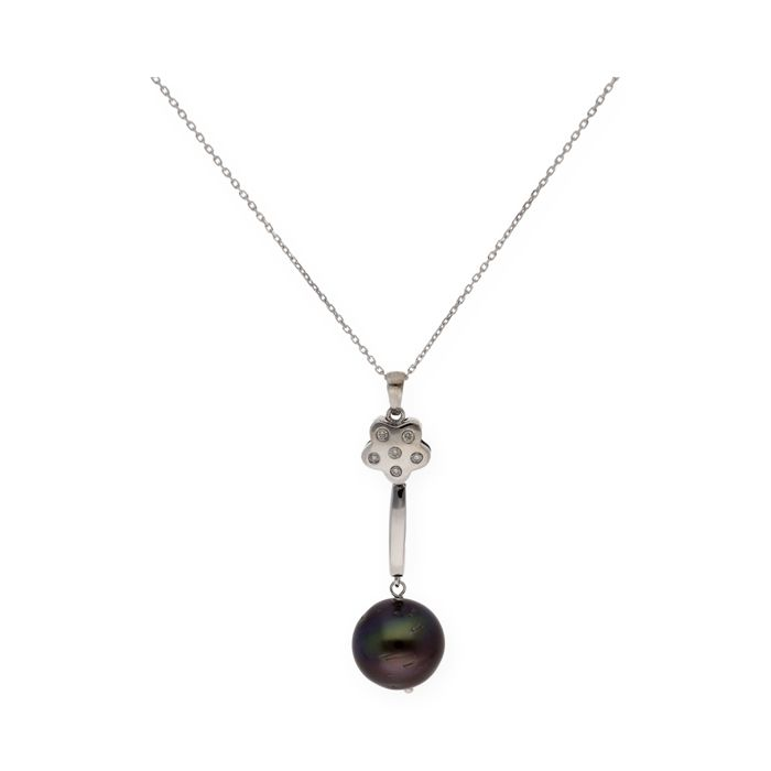 White gold 18 kt (750/1000)  - Choker with pendant - Diamonds of 0.20 ct in total - Tahitian pearls of 12.05 mm