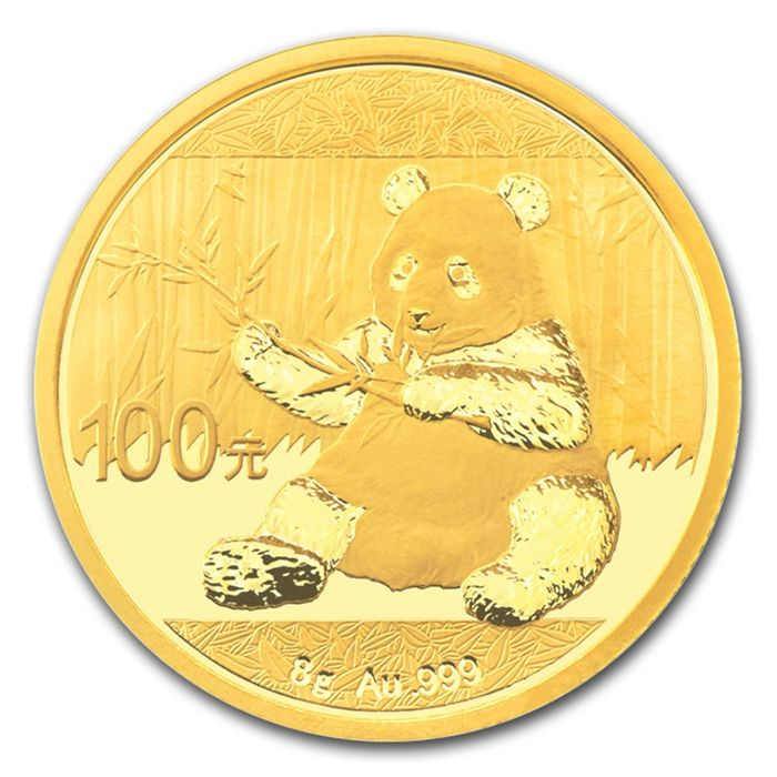 China - 100 Yuan 2017 'Panda' in original mint packaging - 8 g gold