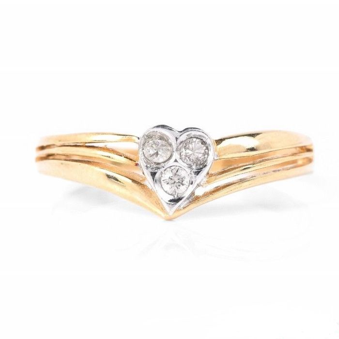 Gold small band heart ring with diamonds