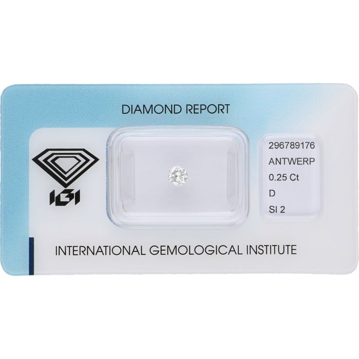 0.25 ct, round brilliant cut diamond, D SI2