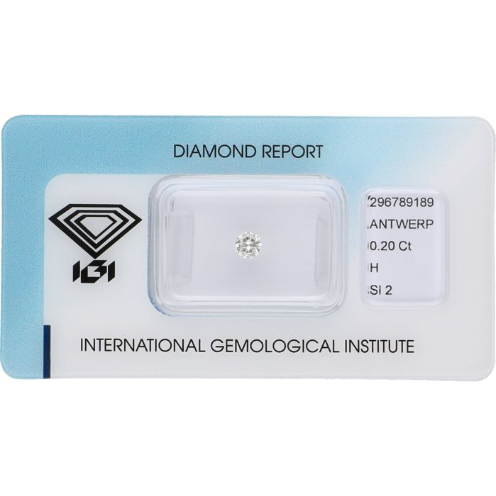 0.20 ct, round brilliant cut diamond, H SI2