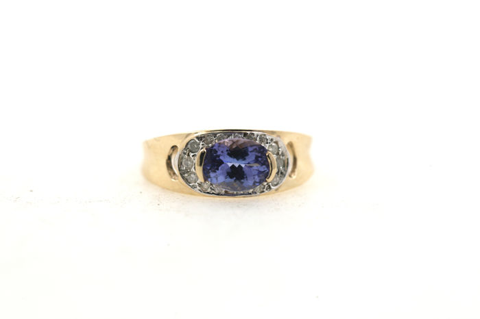 9 kt yellow-white gold ring with 0.40 ct diamonds and 0.40 tanzanite - ring size 59 (EU) - free size adjustment