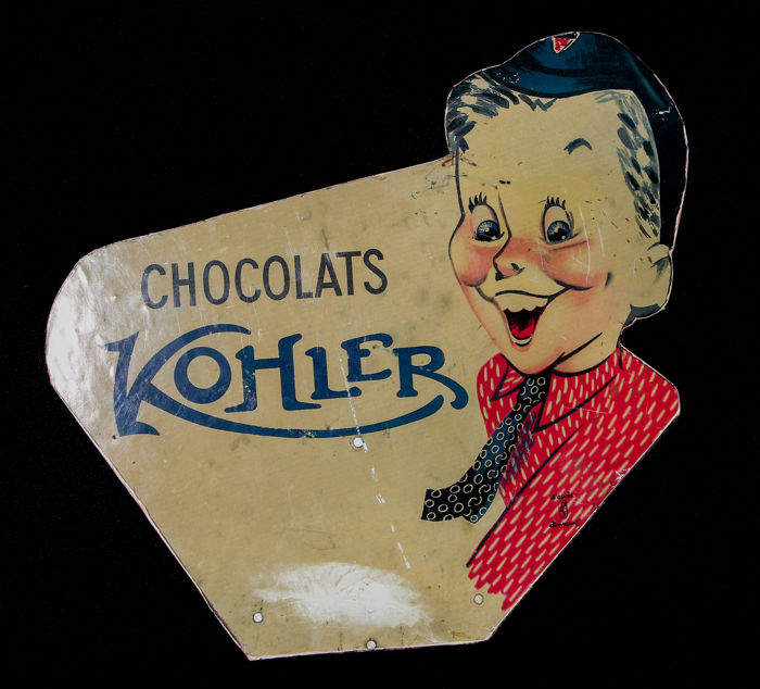 Glass advertising sign - Chocolats - Kohler