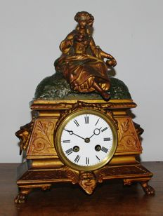 French mantel clock, gold plated - Japy Freres - 1880 period