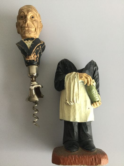 Collection:  SYROCO wood corkscrew bartender with head Senator Volstead