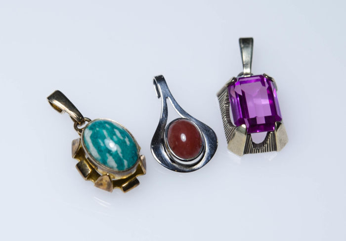 3 silver pendants with stones fischland germany catawiki 3 silver pendants with stones fischland germany aloadofball Choice Image