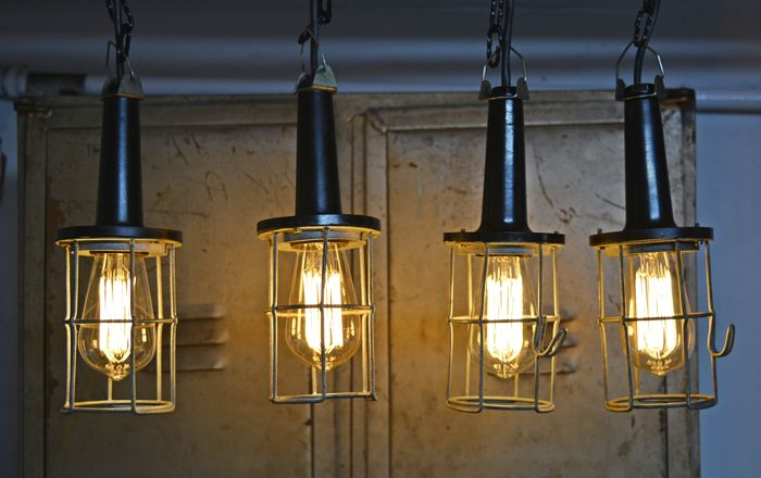 Four vintage industrial bakelite lamps for sale