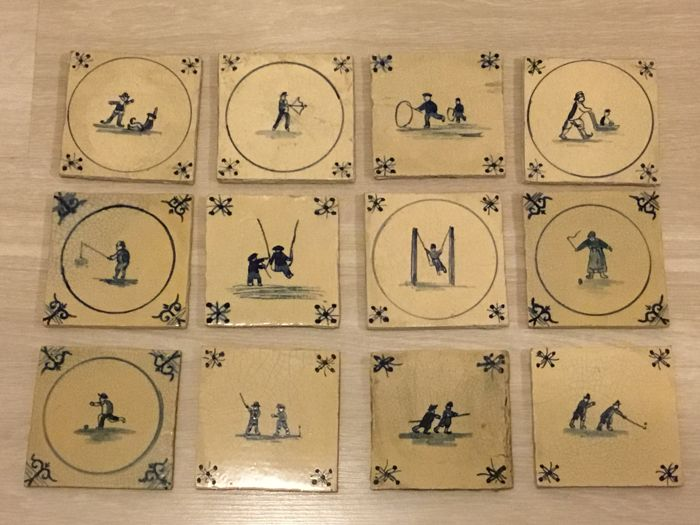 Delft - Lot with 12 old tiles