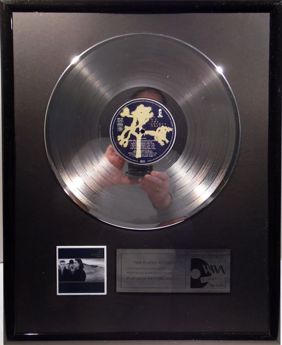 "U2 - The Joshua Tree - 12"" Island Record platinum plated record by WWA Awards"