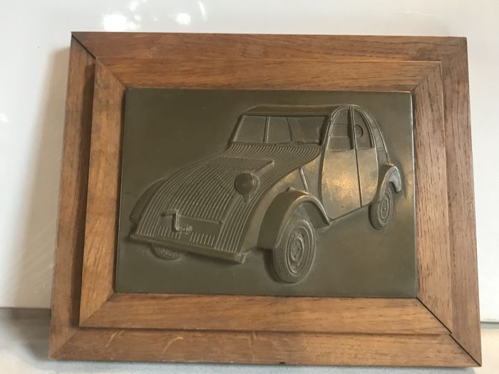 "Bas-relief in bronze on wooden framework  - theme of the 1st 2CV - ""Citröen"""