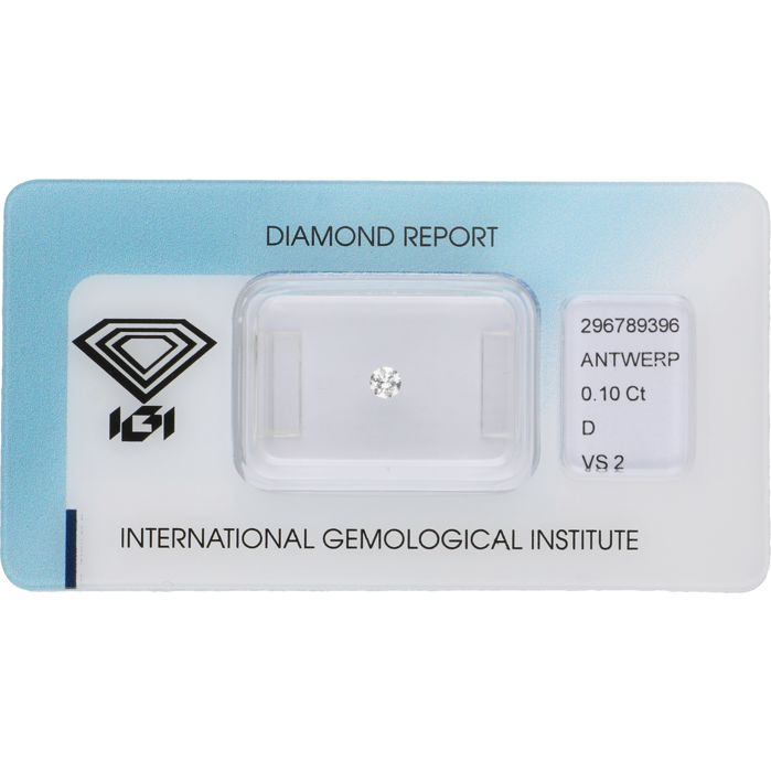 0.10 ct. rond briljant geslepen diamant, D VS2
