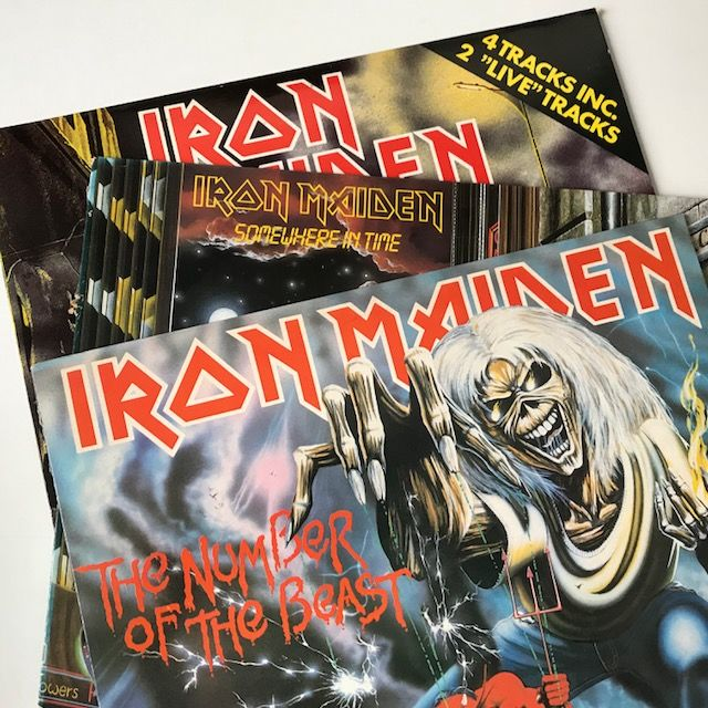 "Iron Maiden - lot of 5 classic 1980s records including rare Iron Maiden 12"" EP and Maiden Japan"