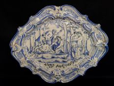 """Apollo pastor et satyri"" monochrome majolica display plate decorated with mythological scene and signed TA:"