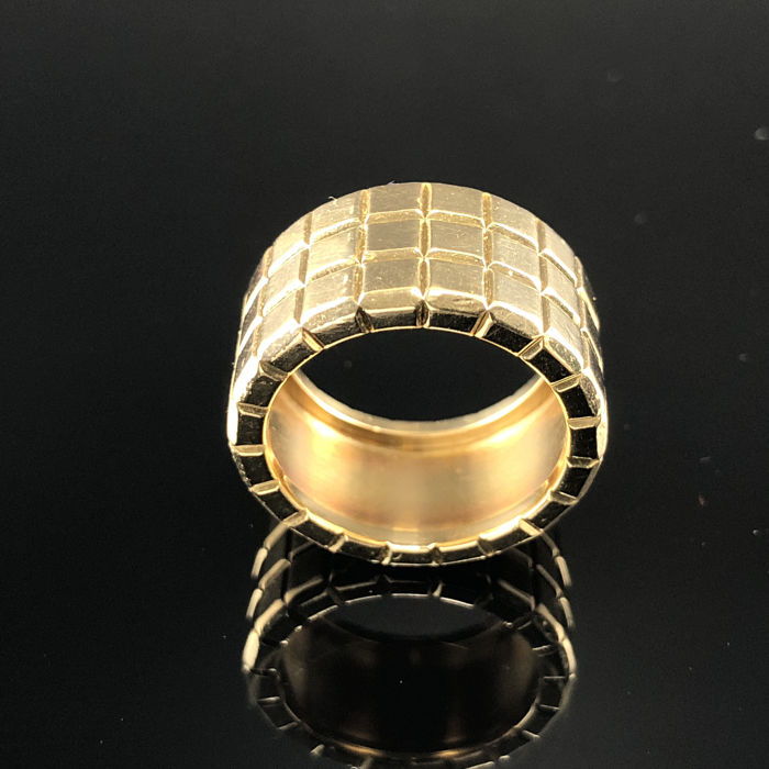 Chopard - Ice Cube Ring 3 Row - Rare Model - Yellow Gold 18K - Size  17mm (6.5 inch) - Exclusive Luxury Ladies Ring