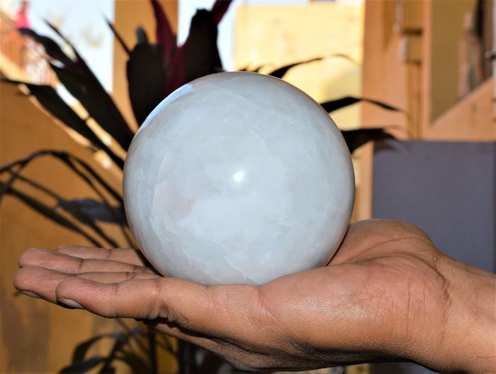 White Aventurine Stone Sphere Ball W/Stand - 100 mm - 1400 gm