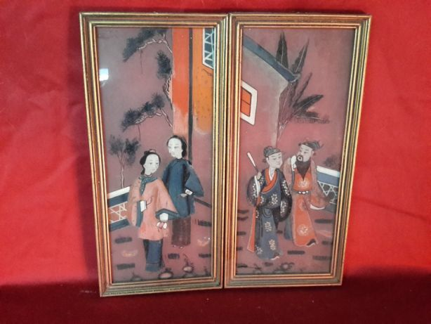 Two Chinese paintings glass paintings double face, ca 1912-1949