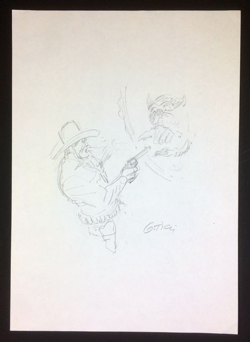 Ticci, Giovanni - pencil sketch for a cover of Tex Oscar Mondadori - signed - 2012