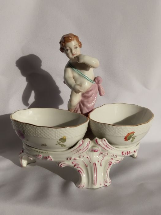 Antique KPM handpainted salt bowls with Putti, flowers and butterflies
