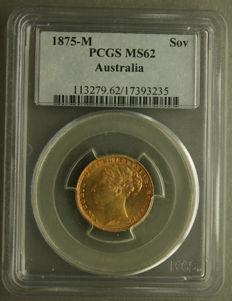 Australia - Sovereign 1875 (Melbourne) in PCGS Slab - gold