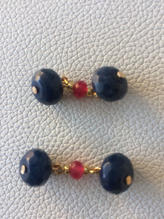 Vintage gilt faceted Indian Sapphire & Ruby men's cuff links,  ca. 1970