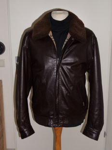 Burberry London - Nappa Leather Bomber Jacket with Shearling Collar