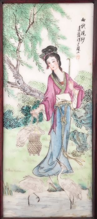 A decorative famille rose porcelain plaque in wooden frame - China -  late 20th to 21st century