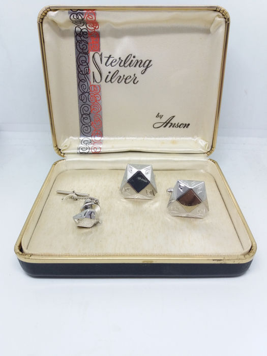Vintage Anson Sterling Silver Cufflinks and Tie Pin in their Original Box