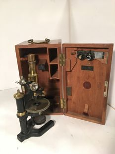 Carl Zeiss microscope in wooden box, Germany, early 20th century