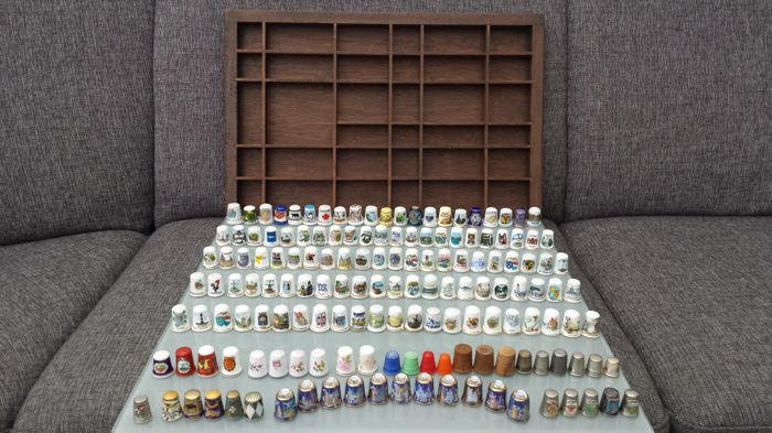 Collection of 154 thimbles + typecase