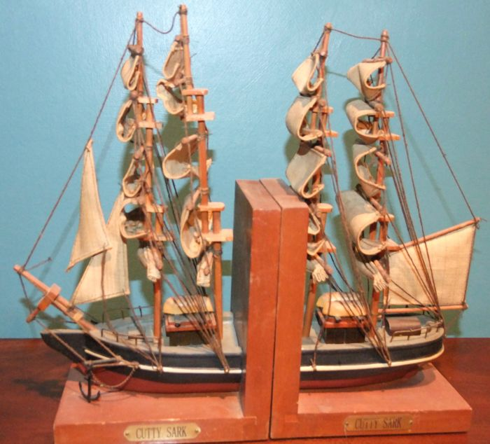 A Pair of Wood & Canvas 'Cutty Sark' Book Ends from c. 1970
